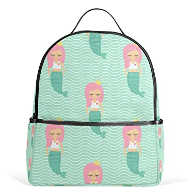 ALAZA Cute Shy Mermaid Girl Backpack Mult-Pocket School Bag Large Travel  Daypack 46307f183bb88
