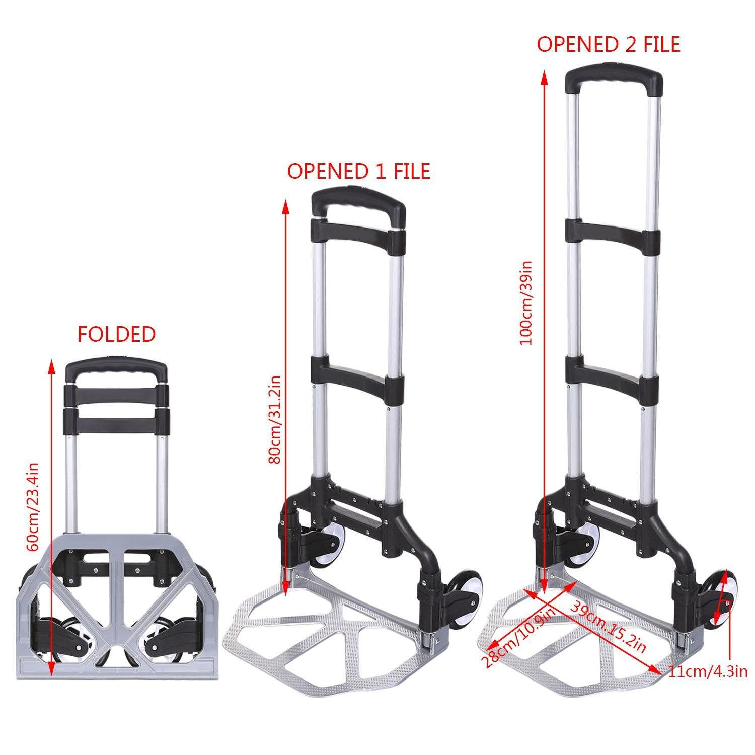 (US Stock) Keland Foldable Lightweight Hand Truck, Portable Aluminum Small Hand Trucks,150lbs Capacity Mini Hand Truck with Arm Handle for Industrial/Travel/Shopping by Keland (Image #7)