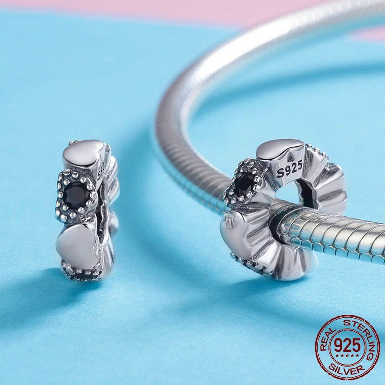 EverReena Loving Black Dazzling Heart Charm Silver Beads Bracelets