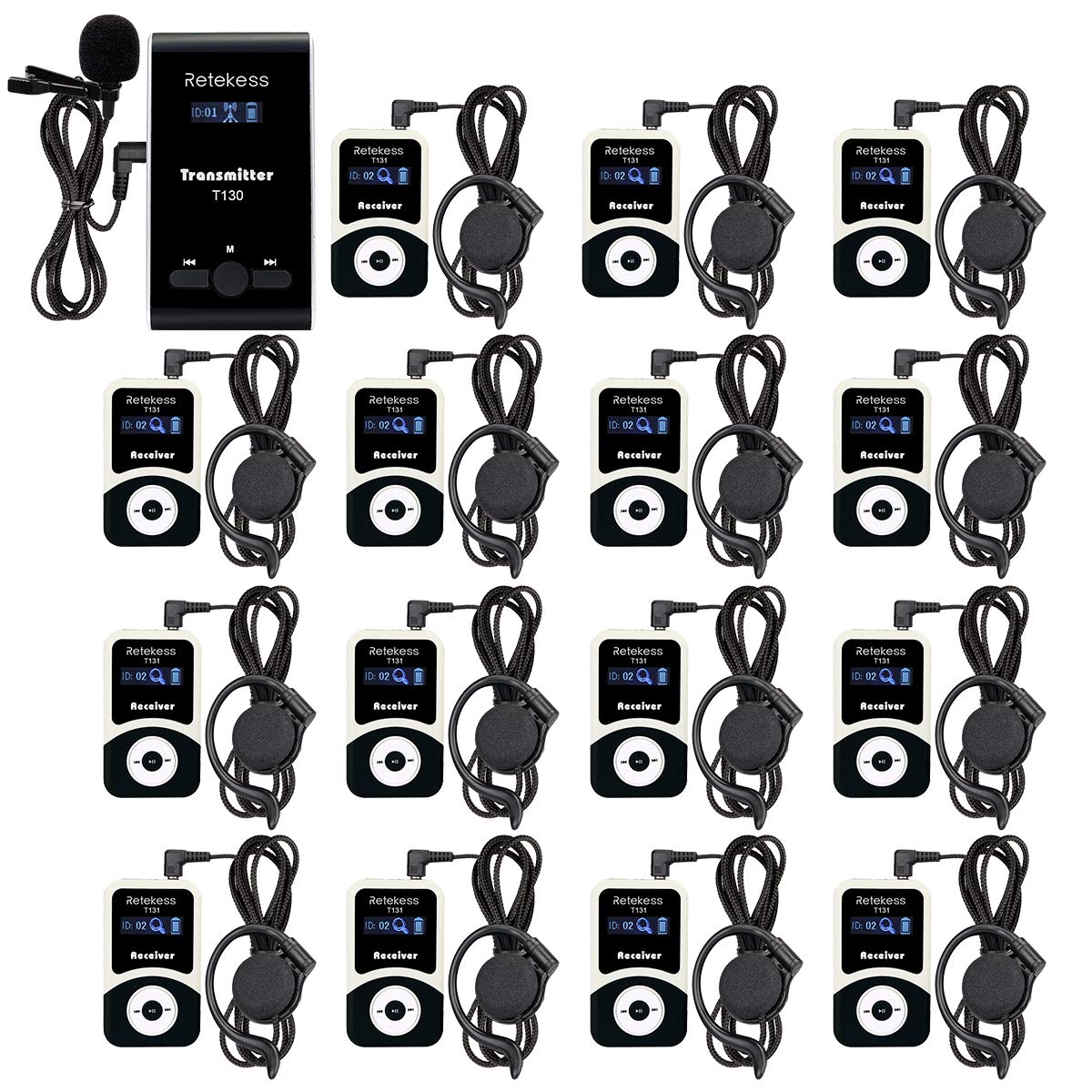 Retekess T130 99 Channel Wireless Tour Guide System Church Translation System Assistive listening system for Factory Tour(1 Transmitter 15 Receivers)