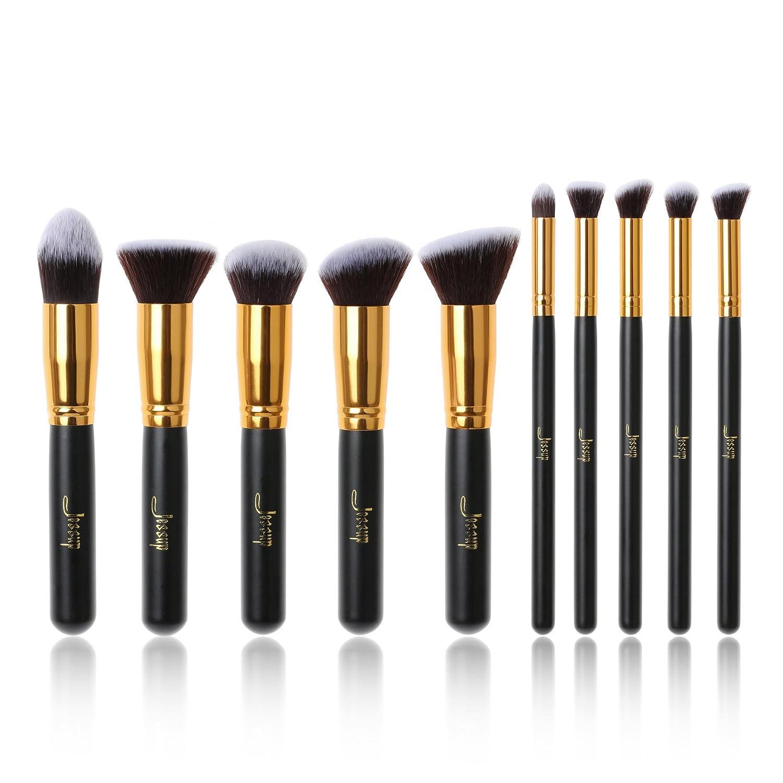 Jessup marca 10PCS Kabuki professionale da trucco cosmetico correttore buffer ciglia fondazione Blending Liner Fiber Hair make up Tools nero/oro T057 Mankalun