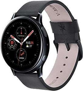 """V-MORO Leather Strap Compatible with Galaxy Watch3 41mm Bands/Galaxy Watch Active2 40mm 44mm Band/Galaxy Watch 42mm Strap with Stainless Steel Buckle for Samsung Galaxy Watch 42mm/Galaxy Watch Active 2,Fits 5.4""""-7"""" Wrist"""