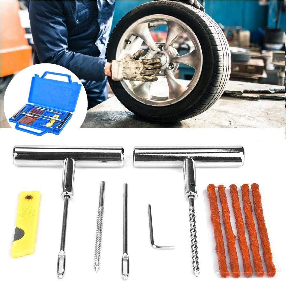 13Pcs Universal Tire Repair Kit,Portable Automobiles Motorcycles Car Tire Repair Case,with Hole Drill Thread Drill Cutting Plate Hex Wrench