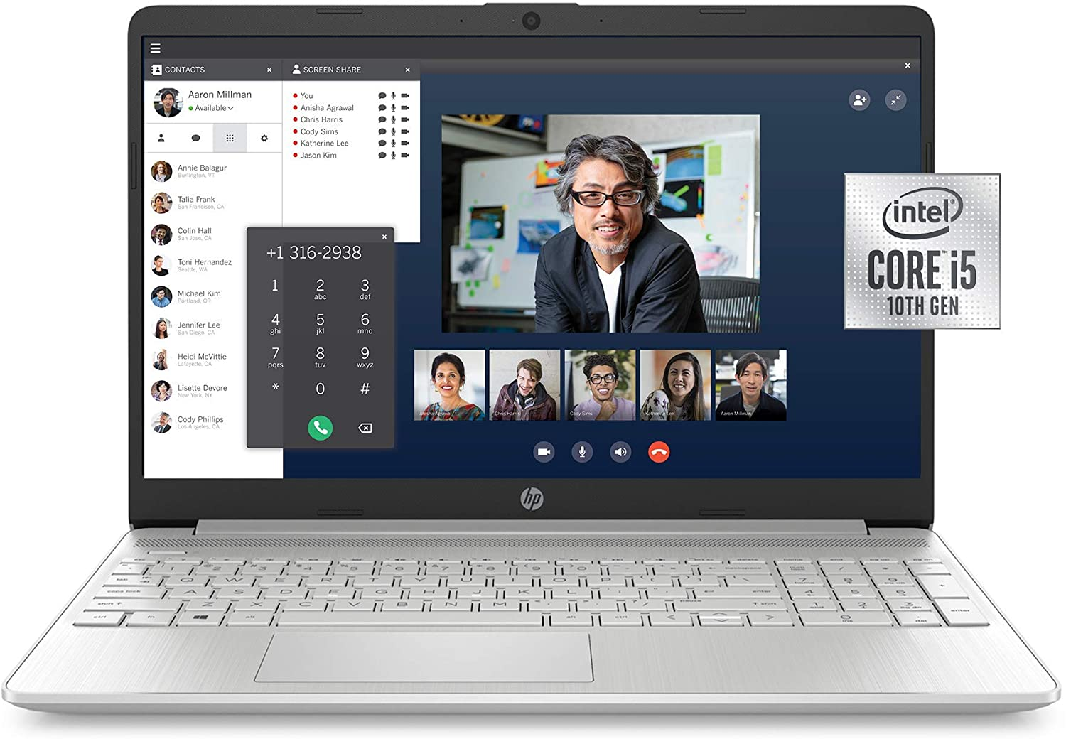 HP 15-Inch FHD Laptop, 10th Gen Intel Core i5-1035G1, 8 GB RAM, 256 GB Solid-State Drive, Windows 10 Home (15-dy1036nr, Natural Silver) (Renewed)