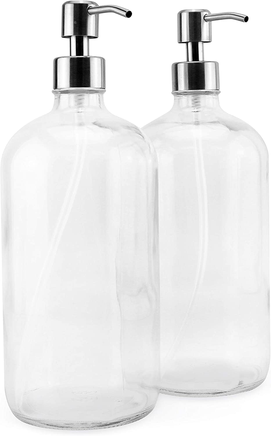 Cornucopia 32oz Glass Pump Bottles with Stainless Steel Pump (2-Pack); Economy Size Dispenser for Massage Oils, Lotions, Liquid Soaps, Hand Sanitizers