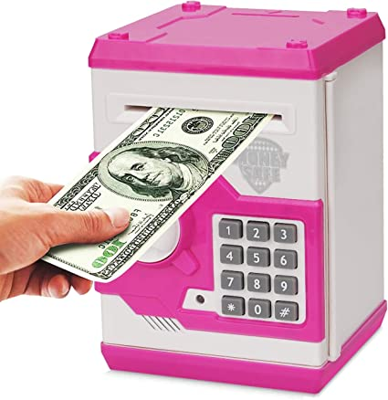 Cartoon Safe Bank Box Perfect Toy Gifts for Boys Girls Adevena Electronic Piggy Bank Gold Mini ATM Password Money Bank Cash Coins Saving Box for Kids