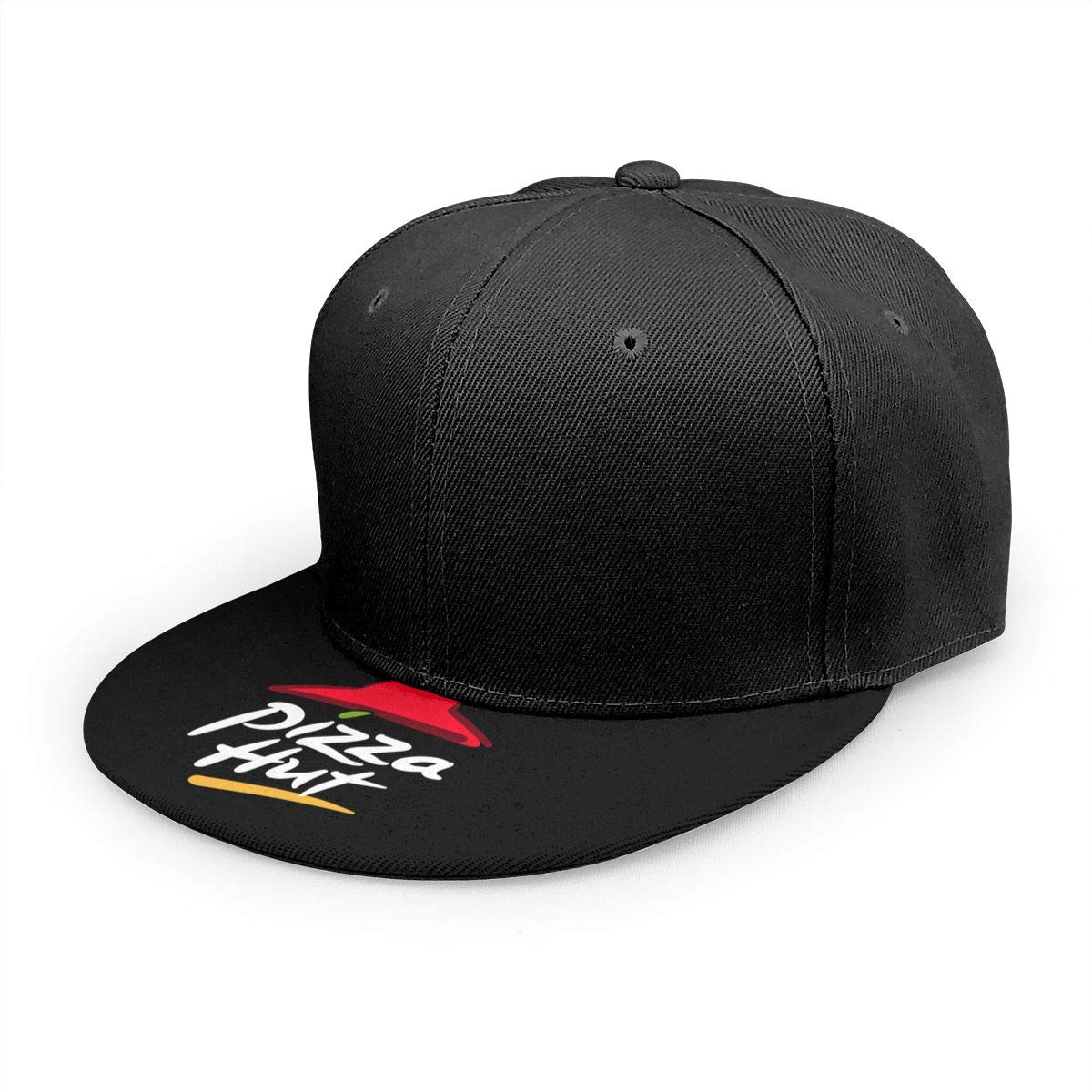 Adjustable Women Men Pizza-Hut-Logo Print Baseball Cap Flat Brim Cap Hats Hip Hop Snapback Sun Hat Boys Girls Black by Apolonia