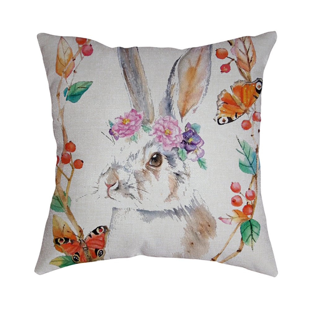 Pet1997 Happy Easter Linen Pillowcase, Festival Rabbit Pillow Case Cushion Cover, Easter Sofa Bed Home Decoration, Luxury Bedding,18 X18 Inch (C)