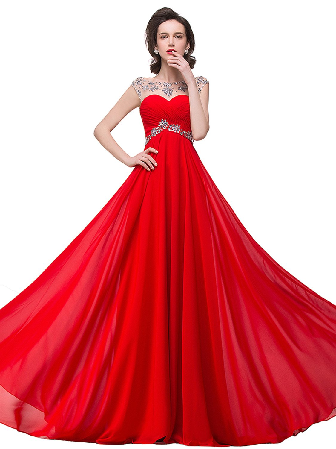 plus size prom dresses for Women Chiffon Bridesmaid Gown,  red, 16