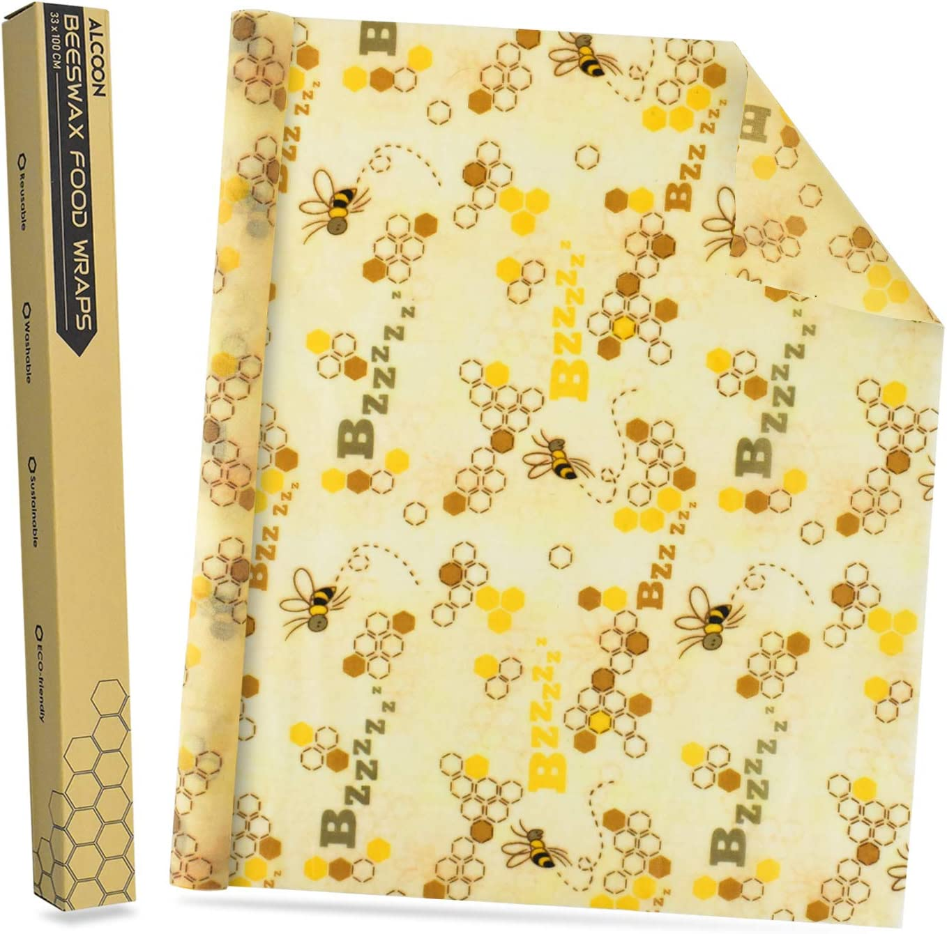 Alcoon Beeswax Food Wraps 1 Meter Roll 13 x 39 Inch Reusable Beeswax Wraps Eco-Friendly Sustainable Food Storage Wraps for Sandwich, Cheese, Fruit, Bread, Snacks (Bee Pattern)