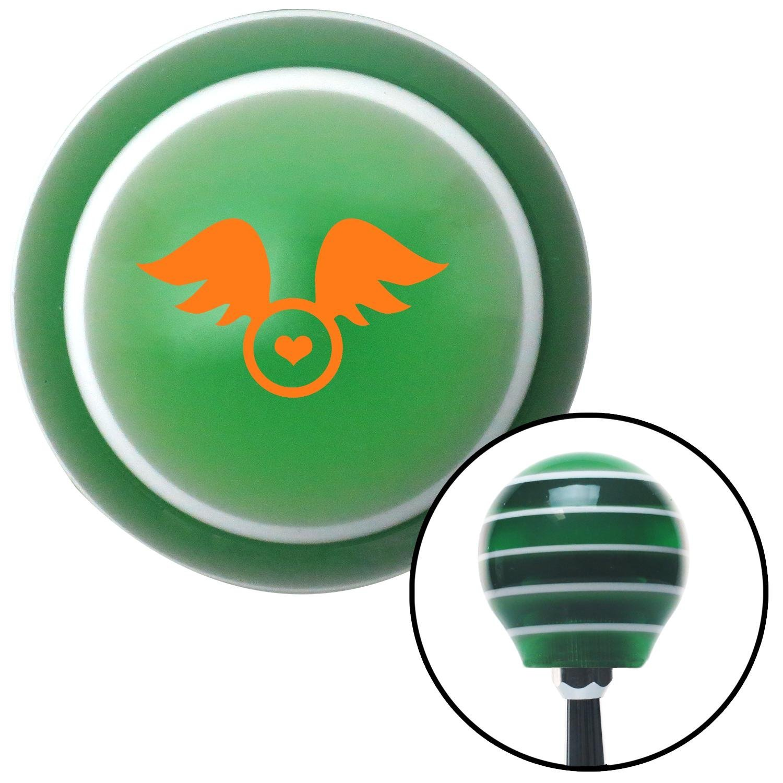 Orange Flying Encased Heart American Shifter 123309 Green Stripe Shift Knob with M16 x 1.5 Insert