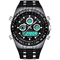 Mens Digital Sports Watch Military Waterproof Analogue Watch Stopwatch Army Shock Resistant LED Backlight Casual Wrist Watches for Men Black