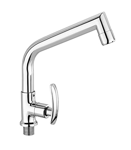 TNL Half Moon Table Mounted Sink Cock with Swivel Spout Tap Quarter, Foam Flow Aerator and Side Handle Mode
