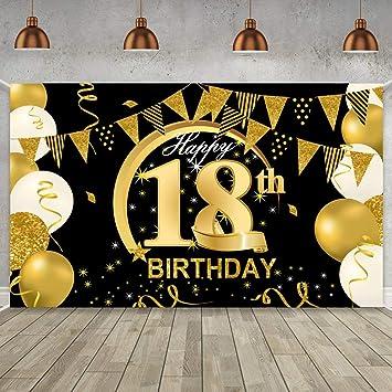 Wiwj 18 Geburtstag Party Dekoration Geburtstag Hintergrund Banner Extra Große Schwarz Gold Dekoration Für Männer Mädchen Geburtstag Sfeier Liefert Foto Prop Kuchen Tisch Banner Spielzeug
