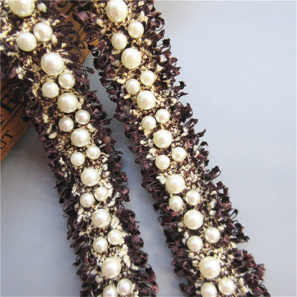 Applique Bridal 2 Yards  Trim Bead Ribbon Wedding Dress Decor 3cm DIY Pearl