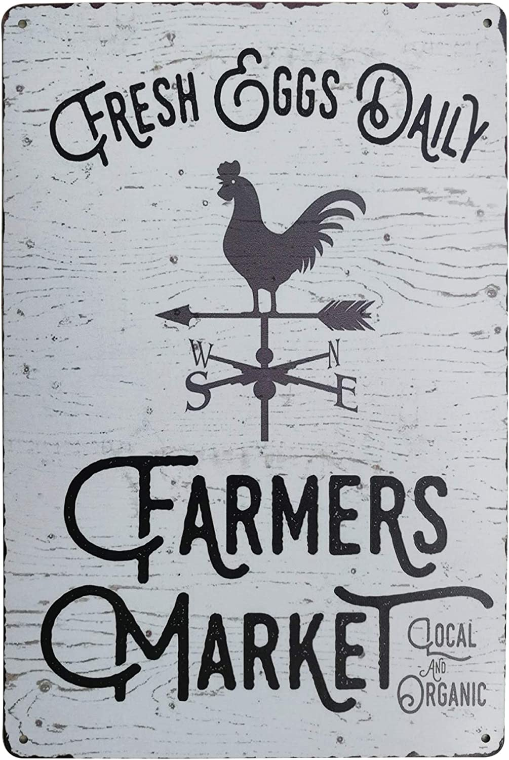 PXIYOU Fresh Eggs Daily Farmers Market Chicken Signs Vintage Metal Tin Sign Kitchen Farmhouse Home Decor Signs Gifts 8X12Inch