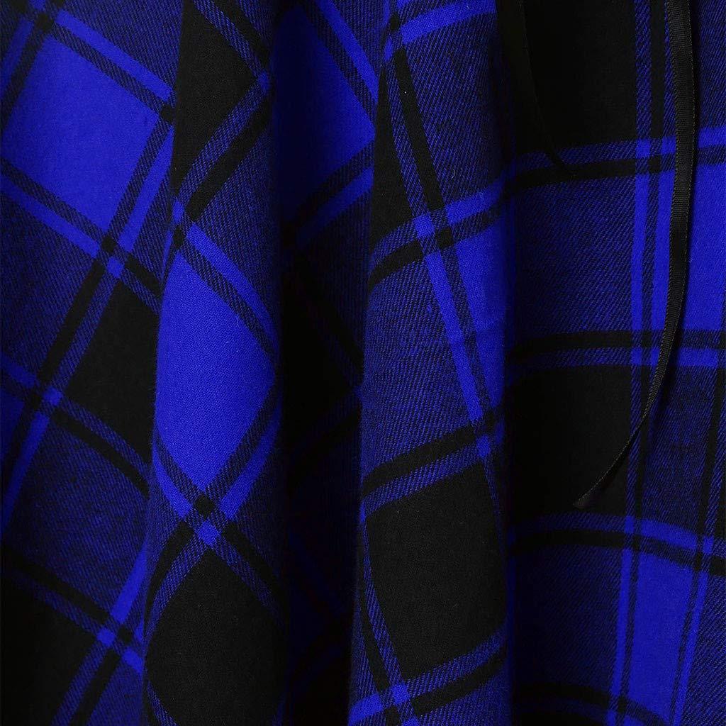 Kleider Elegant Sommerkleid Kreuzriemen Strandkleid /äRmelloses Minikleid Kariertes Partykleid Unregelm/ä/ßIgen Abendkleid Damen Kleider-Omingkog Blau,L2