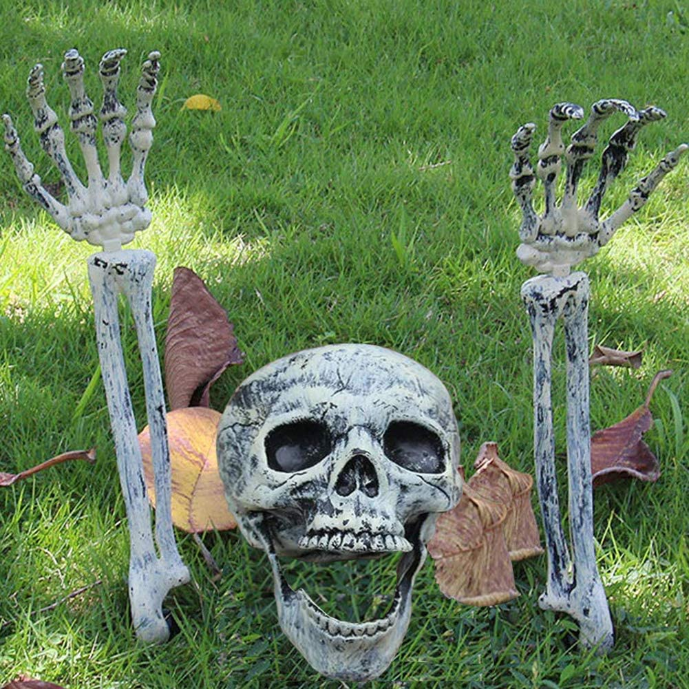 Vinyl Etchings Realistic Halloween Skeleton Stakes Decorations, 3Pcs Groundbreakers Skull Head Skull Arms with Stakes Black Crack Skeleton Decor for Outdoor Yard Lawn Garden Graveyard Party Supplies