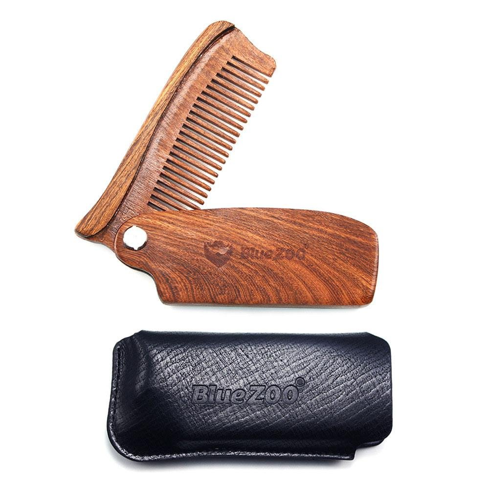 Pocket Beard Comb KOBWA Sandalwood Comb with Leather Case Handmade Tool Made from 100% Sandalwood