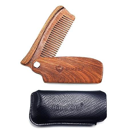 AOLVO Sandalwood Beard Comb, Folding Natural Wooden Mustache