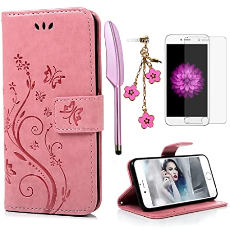 iPhone 6 / 6S Hülle (4,7 Zoll) Wallet Case Flip Hülle YOKIRIN Schmetterling Blumen Muster Schutzhülle PU Leder Brieftasche Le