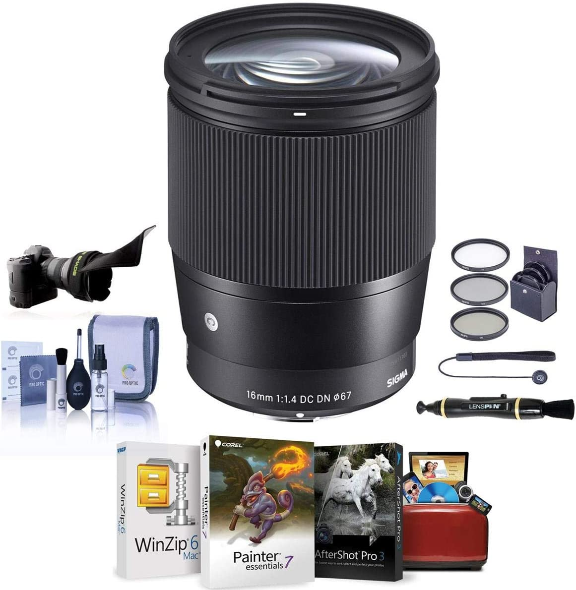 Sigma 16mm f/1.4 DC DN Contemporary Lens for Canon EF-M Cameras Black - Bundle with 67mm Filter Kit, Flex Lens Shade, Cleaning Kit, Capleash II, Lenspen Lens Cleaner, Mac Software Package