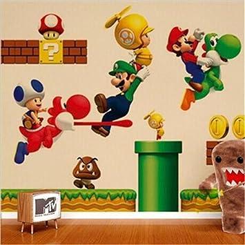 Amazon.de: xinw Colorful Super Mario Wandaufkleber Abnehmbare Kids ...