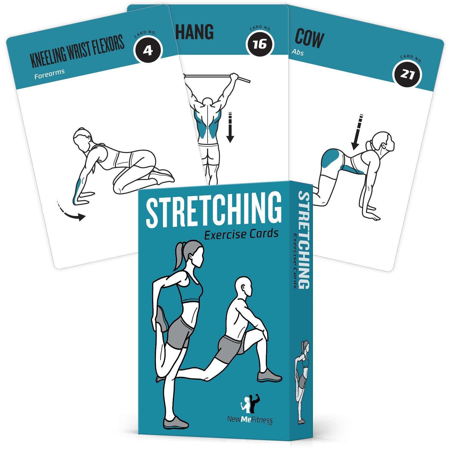 NewMe Fitness Stretching Flexibility Exercise Cards - 50 Stretching Exercises - Increase Flexibility - Prevent Muscle Strains, Promote Circulation + Speed up Recovery Time - Large, Durable Cards by NewMe Fitness