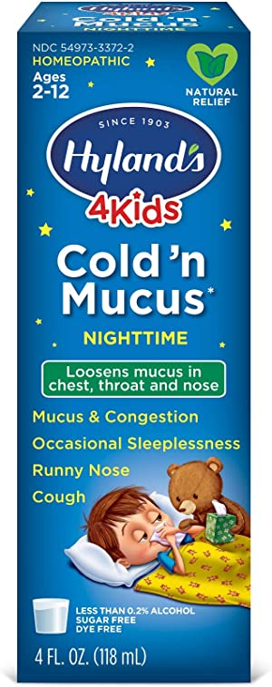 Cold Medicine for Kids Ages 2+ by Hyland's, Nighttime Cold 'n Mucus Relief Liquid, Natural Relief of Mucus & Congestion, Runny Nose, Cough, 4 Ounces