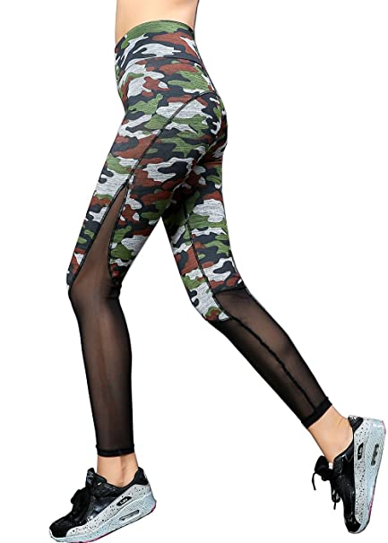 6fb9ae7581495 Cimno Workout Pants for Women Ankle Length Yoga Leggings Pants Camouflage S