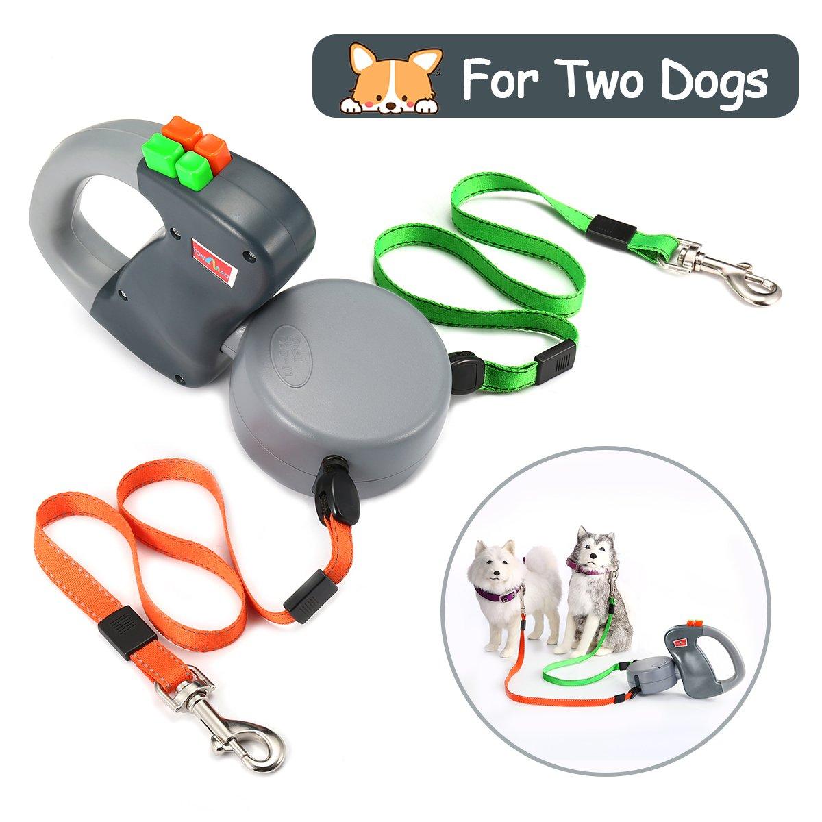 Focuspet Doppelte Hundeleine, Einziehbare Bis Zum 3 M Hundeleine Für 2 Hunde Hundeleine Mit Button Break- Und Schließsystem Ideal zum Wandern Geeignet Für Kleine Bis Große Hunde