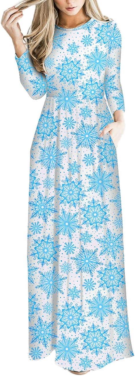 TALLA XXL=ES 48-50. FeelinGirl Mujeres Vestido Largo Estampado Floral de Fiesta Navidad Falda Maxi de Manga Larga Nochebuena Blanco-54 XXL=ES 48-50
