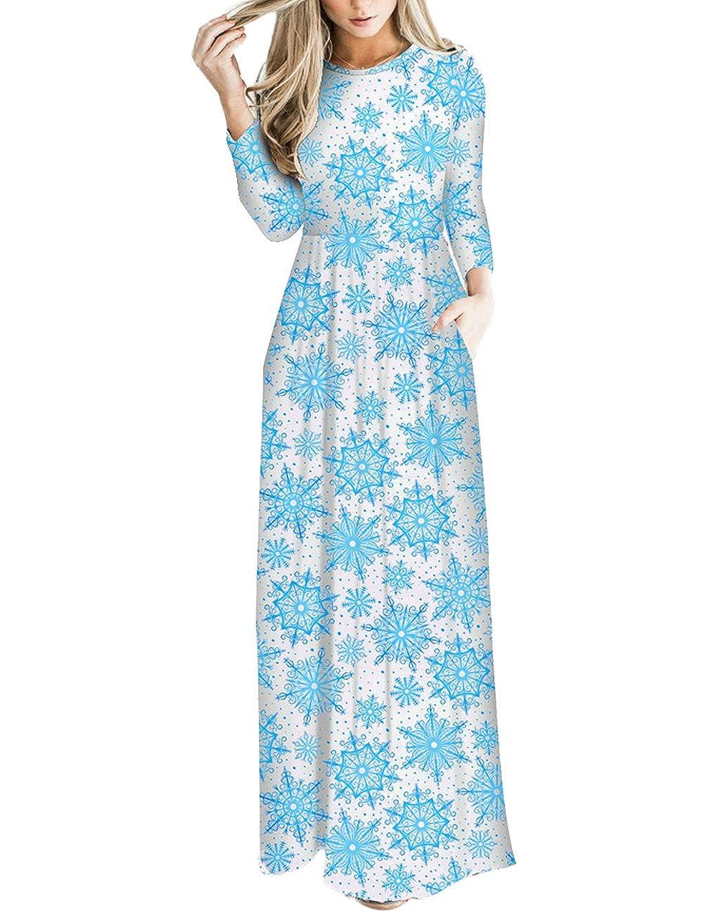 TALLA M=ES 40-42. FeelinGirl Mujeres Vestido Largo Estampado Floral de Fiesta Navidad Falda Maxi de Manga Larga Nochebuena Blanco-54 M=ES 40-42