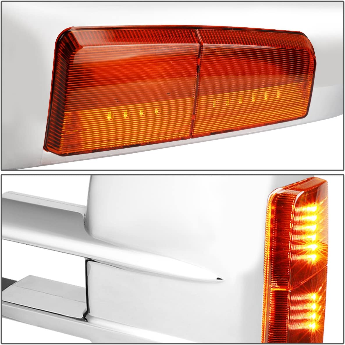 Driver and Passenger Sides,Chrome Amber DNA MOTORING TWM-020-T999-CH-AM Pair Of Towing Side Mirrors
