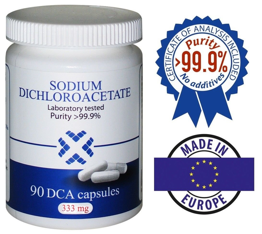 DCA - Sodium Dichloroacetate 333mg - Best Purity >99.9%, Made in Europe, By DCA-LAB, Certificate of Analysis included, Tested in a Certified Laboratory, Buy Directly from Manufacturer, 90 Capsules