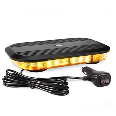 Primelux 12-inch 30 LED Amber Strobe Lights - Truck Roof Top Emergency Warning Beacon Mini Light Bar with Super Strong Magnetic up to 70mph Pod Base and Cigarette Lighter Plug (Amber): Car Electronics