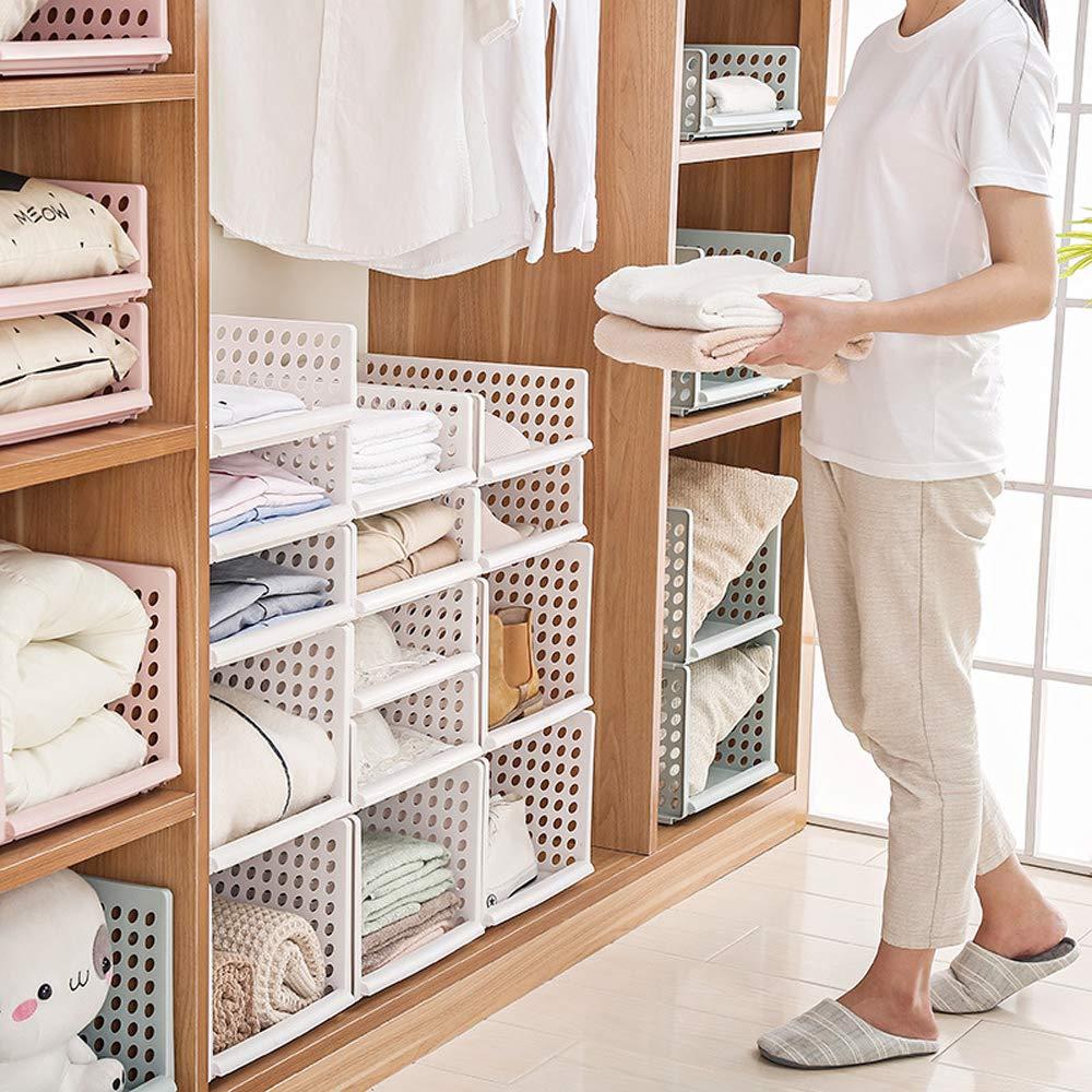 Mdurian Stapelbare Regal Kleiderschrank Organizer Schubladenbox Teiler Kleideraufbewahrungskorbhalter Schrank-Organizer f/ür Kleidung K/üchen Schlafzimmer