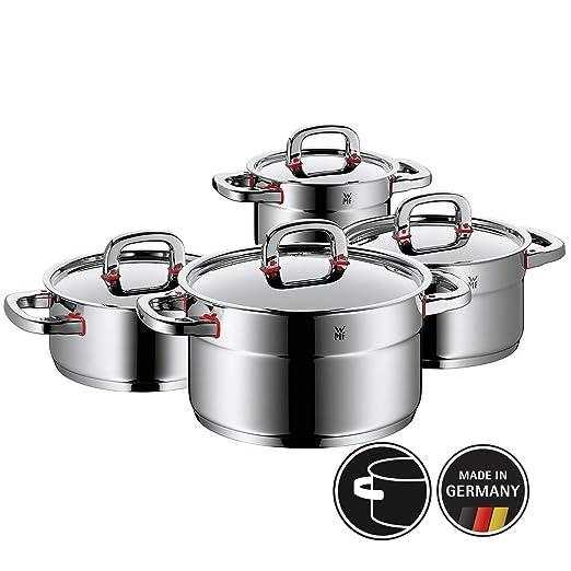 WMF Premium One - Batería de cocina 4 piezas Cool+ de acero inoxidable, apto para inducción. Fabricado en Alemania.
