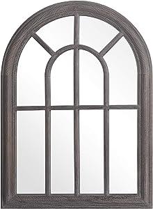 RHF Mirror,Decorative Torched Wall Hanging Mirror,Rustic Wood Frame Arch Mirror, Boho Wall Decor, Farmhouse Decor, 20