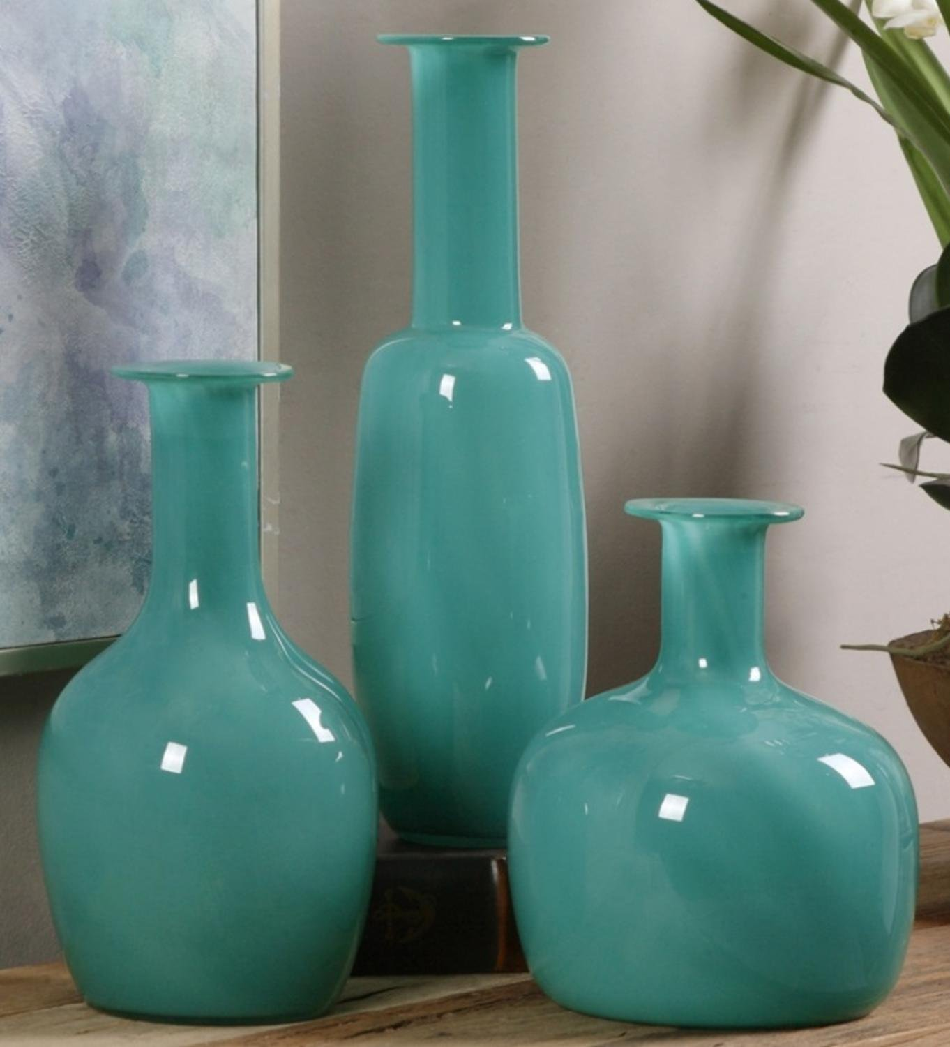 Set of 3 Persian Turquoise Green Glass Decorative Vases 11'' - 14'' - 18''
