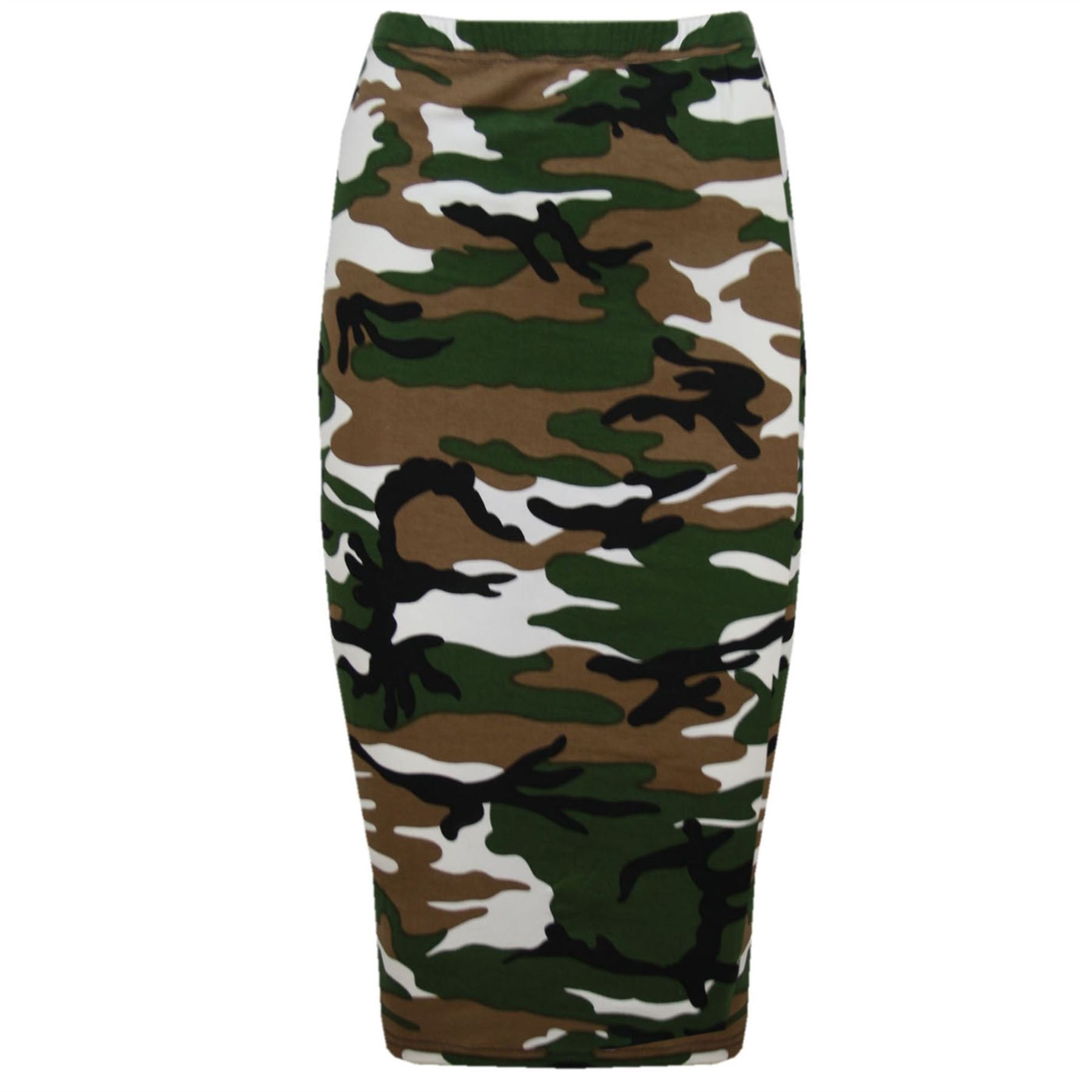 Oops Outlet Women's Printed Tube High Waist Wiggle Bodycon Pencil Midi Skirt Plus Size US 12 Army