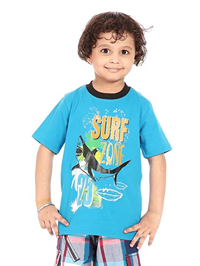 05f86100bab7b Posh Kids boys s/s 100% Cotton jersey printed tee: Amazon.in ...