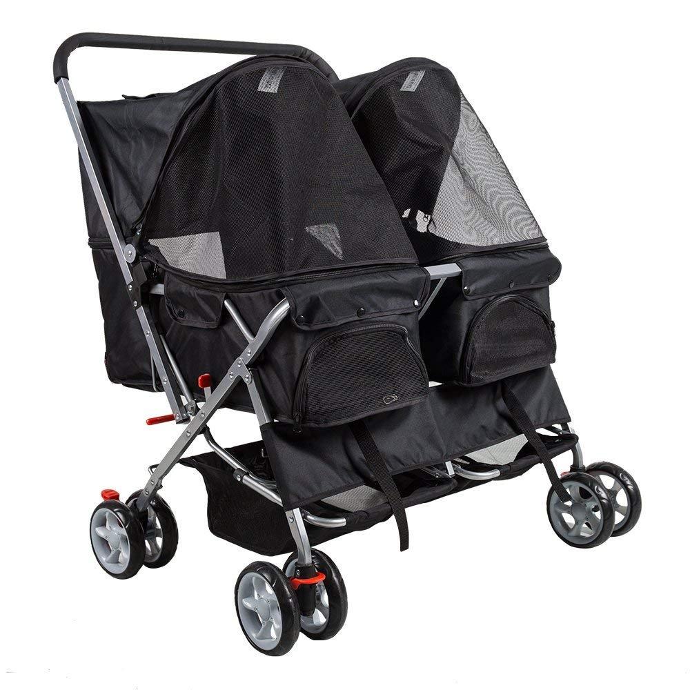KARMAS PRODUCT 4-Wheel Double Pet Stroller Cat Dog Walk Travel Folding Carrier For 2 Pets
