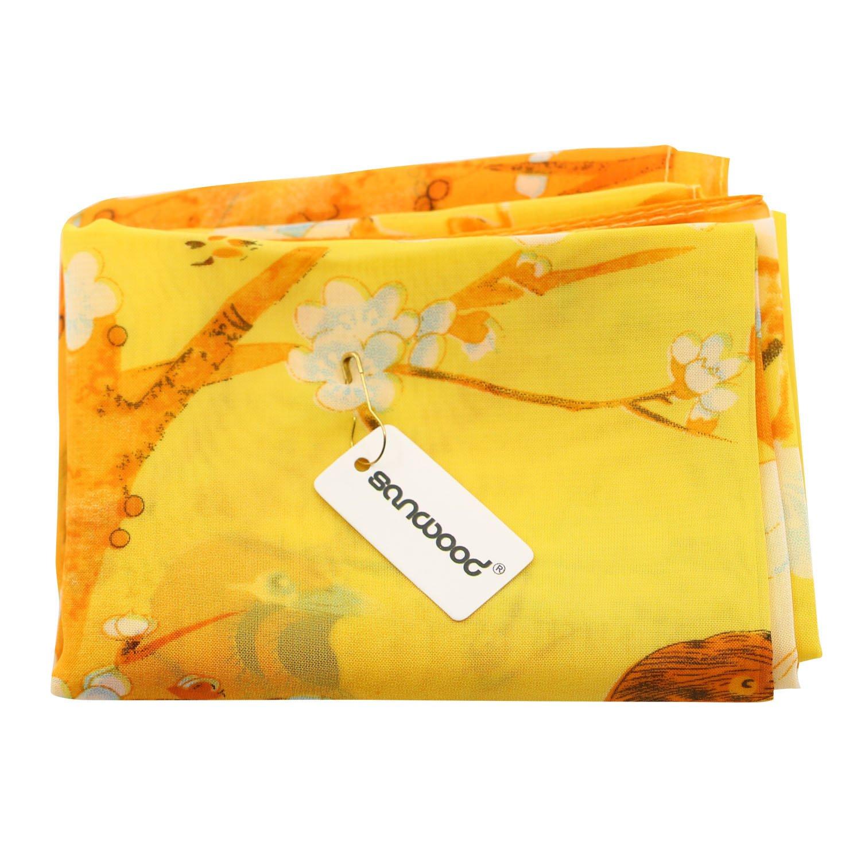 Sanwood/® Ladies Chiffon Scrawl Flower Printed Wrap Scarf