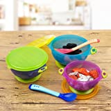 Coju-Gear Best Spill Proof Suction Bowls - FDA approved and BPA Free, 2 Free Spoons and 3 Different Size Bowls With Seal Easy Lids, Perfect For Storage and Easy to Go Snack Bowl