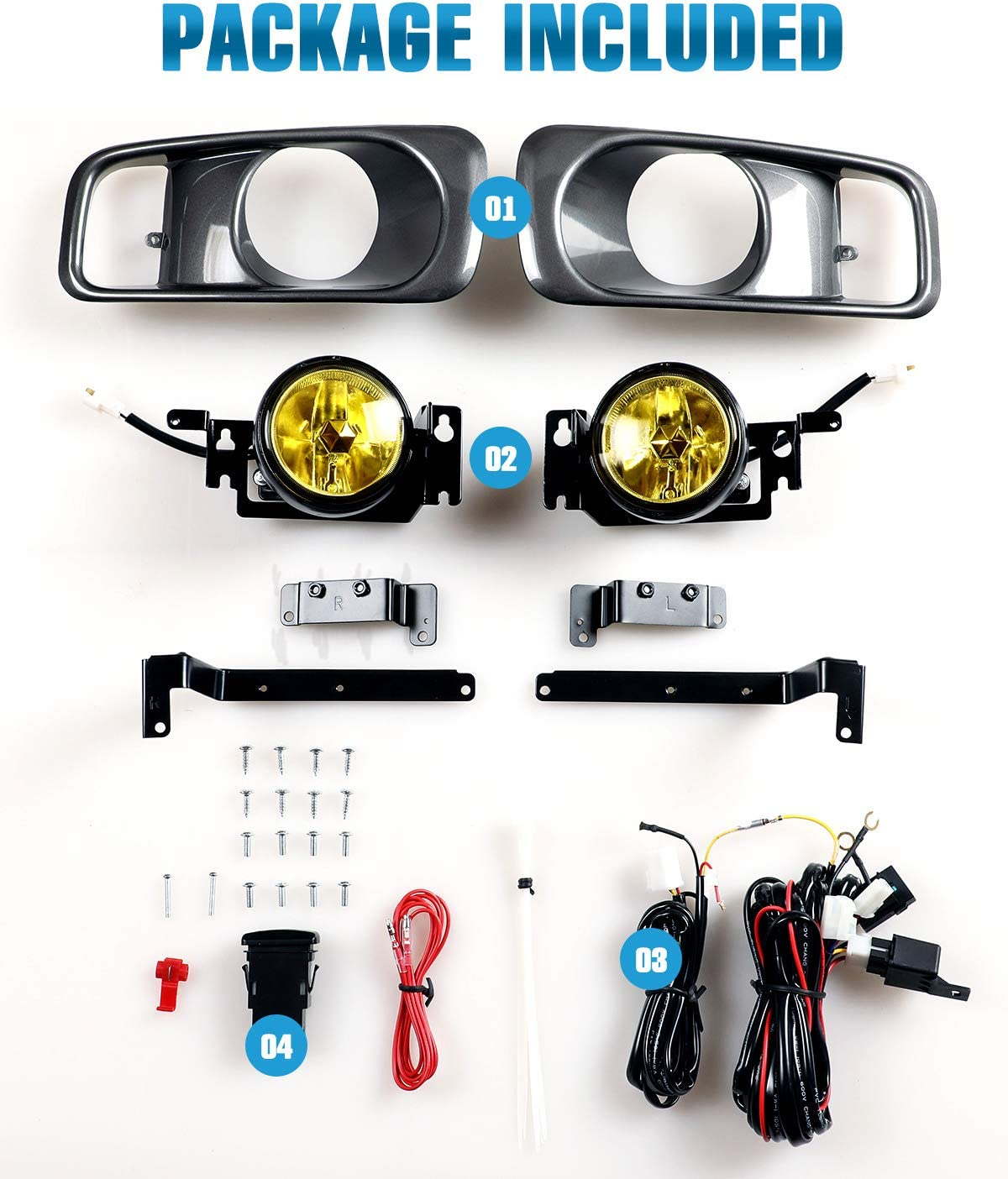 AUTOFREE Fog Lights for Honda Civic Si//TYPE R 1999 2000 with H3 12V 55W Blubs OEM Fog Lamps Assembly Included Wiring Kits /& Switch-1 Pair Yellow Lens