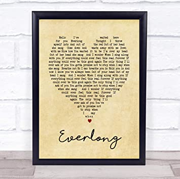 Amazon Com Everlong Vintage Heart Song Lyric Wall Art Quote Print