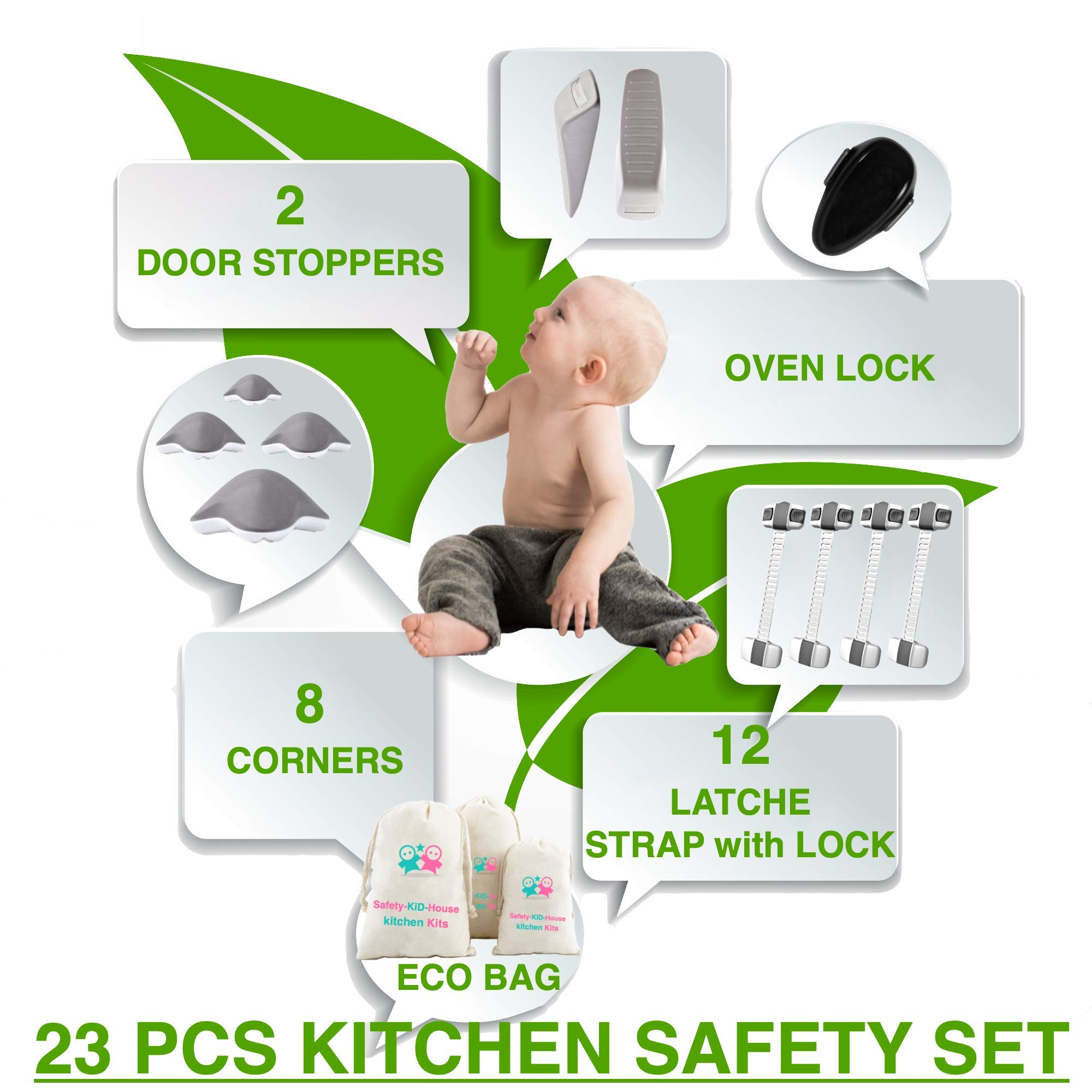 Baby Safety Set of Child Safety Cabinet Locks, Corner Protector, Door Wedge, Oven Lock - Essentials Items for Baby Proofing