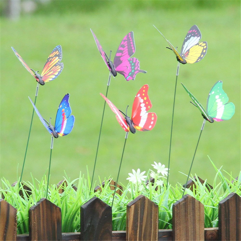 Hongxin 10/25/60 PCS Artificial Butterfly Garden Decorations Simulation Butterfly Stakes Yard Plant Lawn Decor Fake Butterefly Colorful Fairy Butterfly On Stick Ornament (10 Pcs/set)