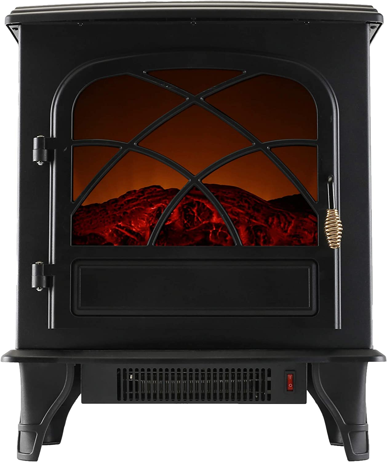 Caesar Indoor Electric Fireplace Stove Heater NO Remote Control, Freestanding ,Realistic Flame, Electric Fireplace Stove, Portable, Infrared, Thermostat, Overheating Safety System, 750/1500W, 23